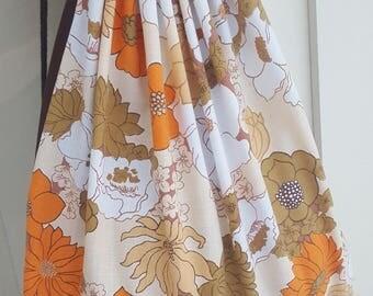 Drawstring bag, backpack in orange and brown vintage