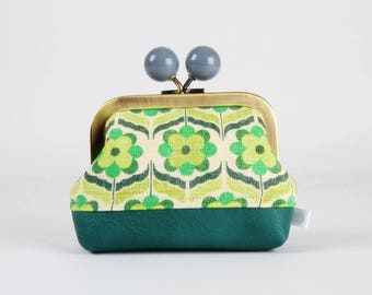 Metal frame coin purse with color bobble - Retro flowers in green - Color dad with faux leather /Japanese fabric / teal mint gray yellow