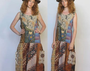 fare thee well -- vintage mixed print ethnic patchwork dress M/L