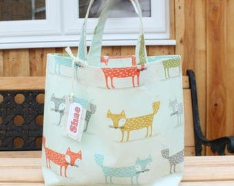 Foxy Oilcloth Lunch Bag with Personalised Name Tag