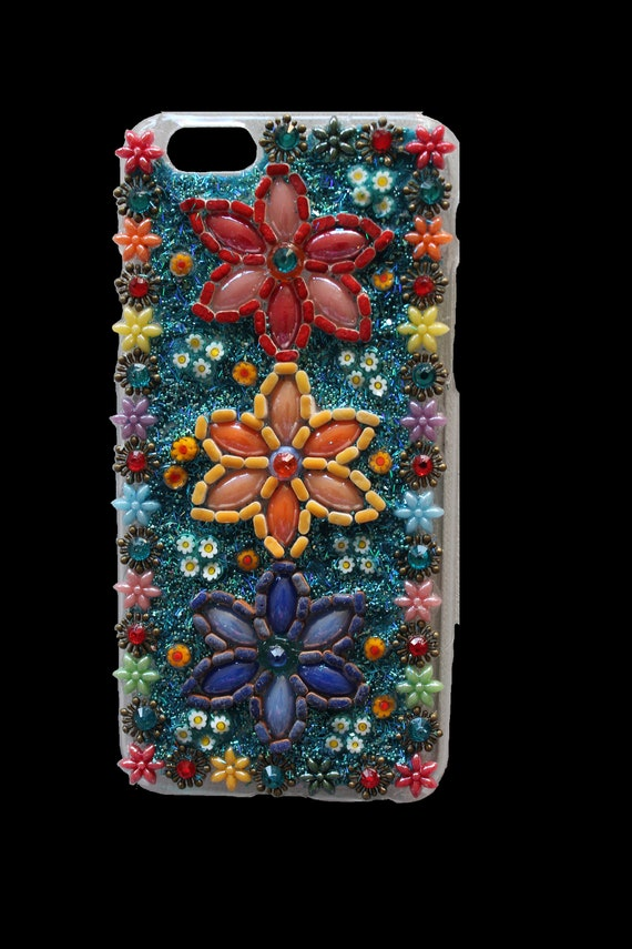 Iphone 6 Embellished Flower Phone Case with Rhinestones and Italian Millefiori