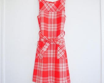 SALE // Vintage Red and White Girl's Dress