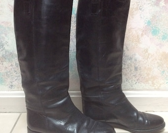 Vintage black leather riding boots sz 7.5/8, Joan & David all leather tall black leather boots, sz 37 1/2 black leather high shaft boots