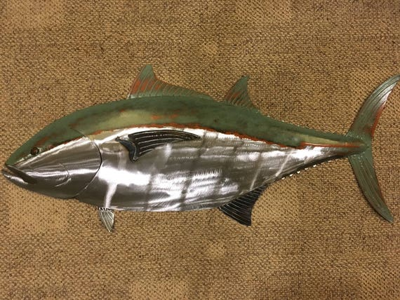 Blue Fin Tuna Fish Metal Sculpture 36in Tropical Beach Coastal Wall Art
