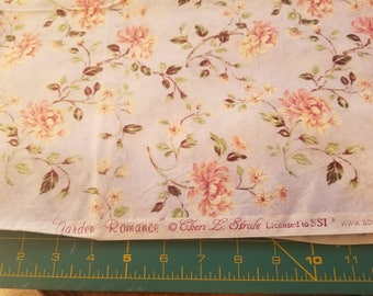 Cotton floral print on light blue grey background Garden Romance just over 2-1/2yd
