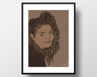 Janet Jackson Print A4 // celebrity portrait illustration, 80s posters, music lover gift, wall art print, new home gift, pop art decor