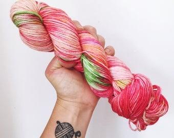 Strawberries - Hand dyed double knit yarn 100g/225m superwash merino, nylon blend