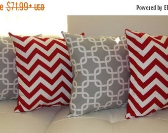 Modern Grey and Red Throw Pillow - Gotcha Storm Grey and Zig Zag Chevron Lipstick Red Decorative Throw Pillows - 4 Pack -- Free Shipping