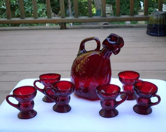 New Martinsville Glass Moondrops Art Deco ruby red Decanter & SIX handled whiskey tot cordial demitasse embossed floral design jewel stopper