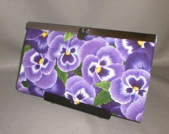 Wallet - DIVA Wallet - Clutch Wallet - Purple Pansy - Floral
