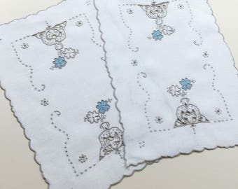 2 Vintage White Linen Doily with Hand Embroidery