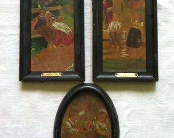 Miniature German Oil Paintings on Glass, Set of Three  from Barneche/Stephanie Barnes Studio