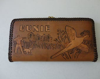 VINTAGE tooled leather WALLET with hunting scene and name eunie