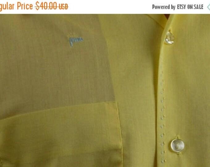 sale Men's Vintage Shirt, 50's Shirt, Golfing Shirts, Yellow Shirt, Embroidered Shirt, Golf Shirt, Short Sleeved Shirt, Casual Shirt,