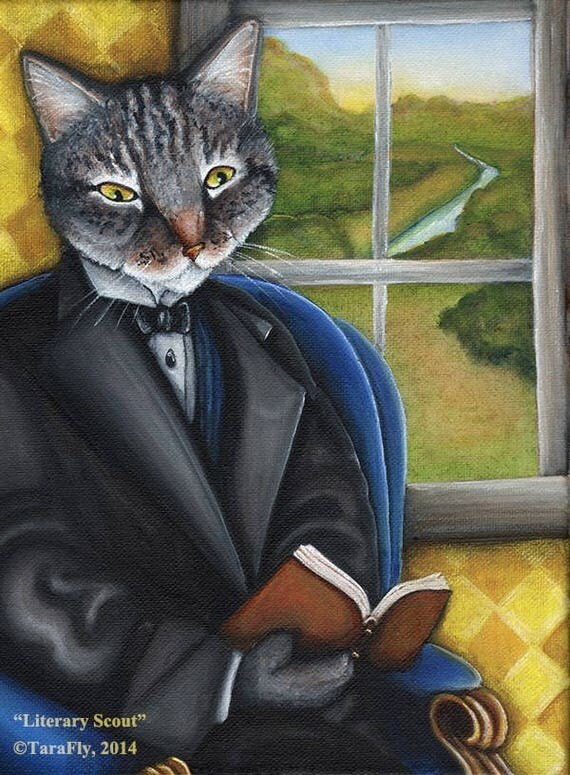 Literary Cat Reading Book Fine Art Print