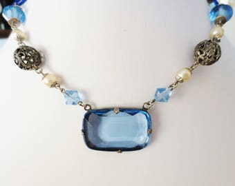 Antique Czech Glass Necklace Blue Silver Off White Filigree Faux Pearl 16 Inches Vintage Art Deco Jewelry