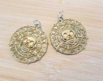 Johnny Pirate Hand Painted Aztec Skull Earrings Gold Enamel