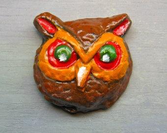 OWL HALLOWEEN MAGNET Handpainted Fridge Magnet Kitchen Folk Art
