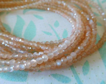Peach or Chocolate MOONSTONE Rondelle Beads - 1/2 Strand, Luxe AAA, 3-4 mm - june birthstone wholesale gemstone beads solo