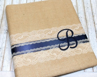 Burlap Guest Book / Navy and Ivory Wedding / Monogram / Navy Guest Book / Wedding Guest Book / Burlap and Lace / Advice Book / Custom