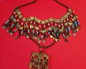 Ethnic Necklace Tribal Look Brass and Ceramic Beads