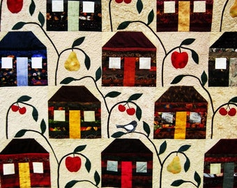 Quilted  lap quilt wall quilt fiber art sofa throw applique  patchwork  house farmhouse quilt