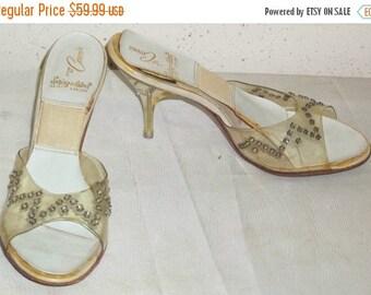SUMMER SALE Vintage Lucite Heel Rhinestone Spring-O-Lators Springolator Pumps Slides 6 1/2A Womens Sandals
