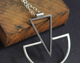 Long Geometric Sterling Silver Necklace- Free Shipping, sterling necklace, geometric necklace, long necklace