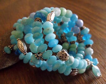 "Natural Blue Quartz Wrap Bracelet with Sterling Silver Accents on Memory Wire, Bohemian Style, Summer Accessories ""Ocean Blues"""