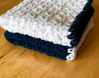 Set of 2 Navy and White Dish Cloths