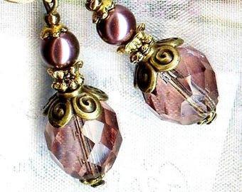 Earrings VINTAGE ❀ Amethyst & Burgundy Crystal bronze OR701 ❀