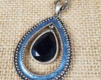 Vintage women's necklace large centerpiece teardrop enamel chain blue silver