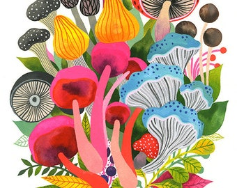 Mushrooms... - limited edition giclee print of an original watercolor illustration (8 x 10 in)