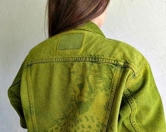 """40% OFF CLEARANCE SALE The Vintage Fluoro Green """"Cheetah Watch"""" Levi's Jacket"""