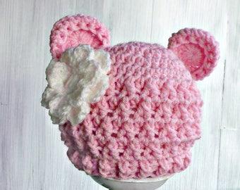Crochet Bear Hat, Baby Bear Hat, Newborn Girl Hat, Crochet Baby Girl Hat, Coming Home Hat, Baby Girl Shower Gift, Pink Baby Hat