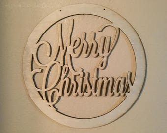 Unfinished Wood Merry Christmas Circle Frame Door Hanger 17.5