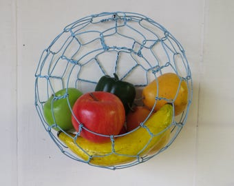 Decorative Wire Wall Hanging Basket In Distressed Blue