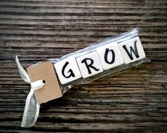 GROW Tumbled Stone miniMagnet Word Strip