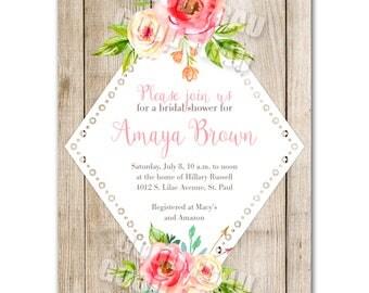 Bridal shower invitation, pink and peach floral baby shower invitation, printable digital DIY wedding