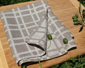 Organic Tea Towel/ Grey Linen Tea Towels/ Checked Natural Linen Cotton Tea  Towel/