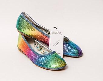 Ready to Ship - Size 10 Tiny Sequin Custom Rainbow Ballet Flats Slippers Shoes