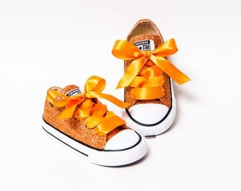 Toddler - Glitter - Sedona Orange Converse Canvas Low Tops Sneakers Tennis Shoes with Satin Ribbon Laces