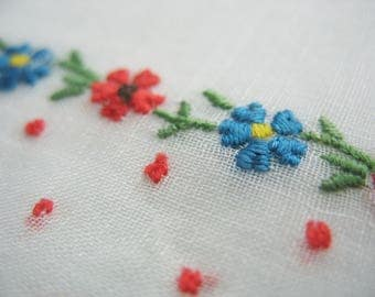 Vintage Embroidered Handkerchief Hankie Floral Colorful White Tatted Edge 11x11