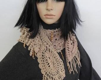 Crochet Lace Scarf Freeform Crochet Scarf in Neutral Beige tones