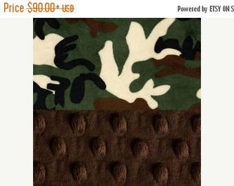 SALE 60 x 70 Minky Adult Blanket,  Personalized Blanket - Green Brown Camo Blanket - Camouflage Throw - Twin Size Name Blanket