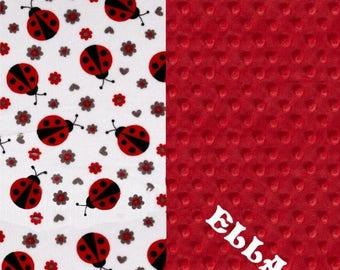 SALE Personalized Baby Blanket Girl - Red Gray Ladybugs Minky Baby Blanket // Girl Baby Blankets // Red Ladybug Blanket // Baby Shower Gift