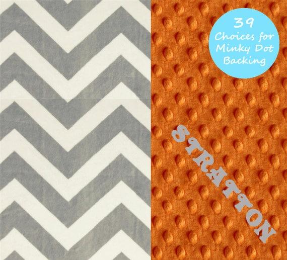 Chevron Minky Baby Blanket Boy, Gray Orange Personalized Baby Blanket Receiving Blanket Baby Shower Gift Chevron Blanket Baby Boy, Baby Gift