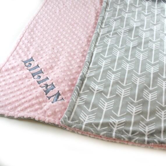 Baby Girl Minky Baby Blanket, Personalized Baby Blanket, Name Baby Blanket, Arrow Baby Blanket, Gift, Kids Minky Blanket Monogrammed Blanket