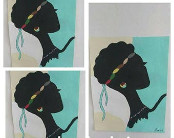 African woman art ,Afrikaans,african American art,black woman painting,  black woman painting,blue top,head ban, natural hair
