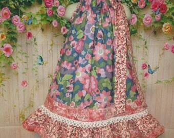 Girls Dress 3T/4T Coral Blue Flower Pillowcase Dress Pillow Case Dress Sundress